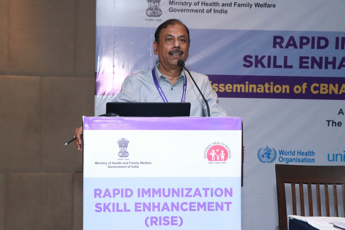 Dr S. N. Bagchi, Lead, Immunization Implementation Program, CHAI addressing the participants