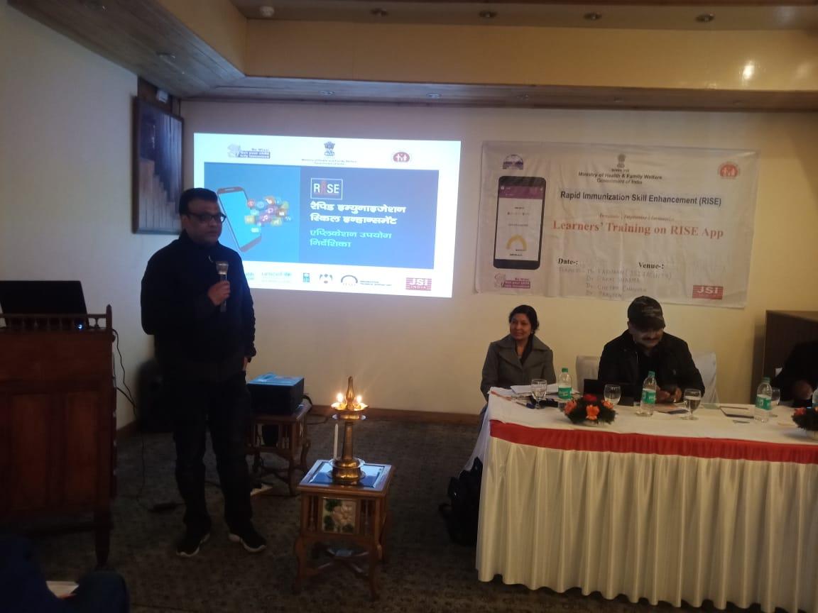 Dr. Manish Sood, DIO Shimla addressing participants during block level training in Shimla, HP