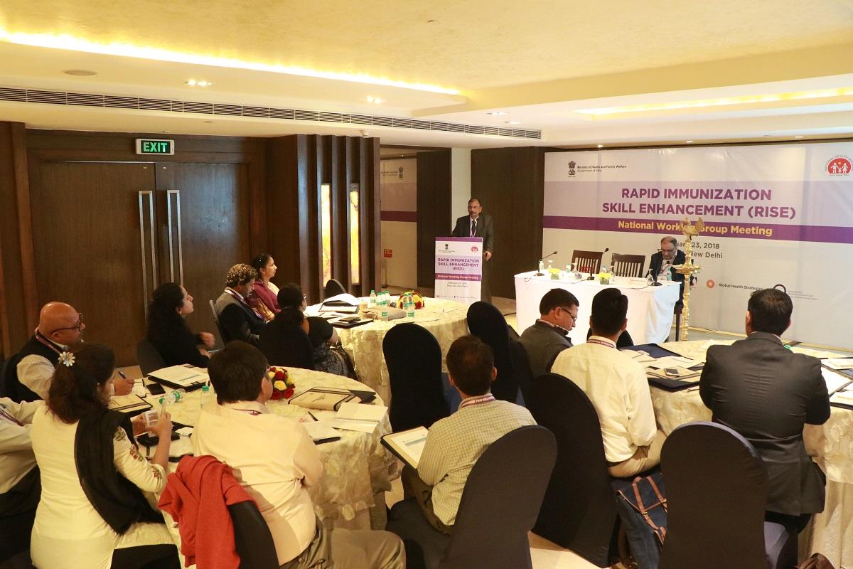 Dr. S. N. Bagchi, Lead, Immunization Implementation Program, CHAI addressing the participants